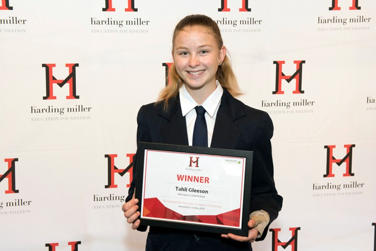 Student receiving Harding Miller Education Scholarship